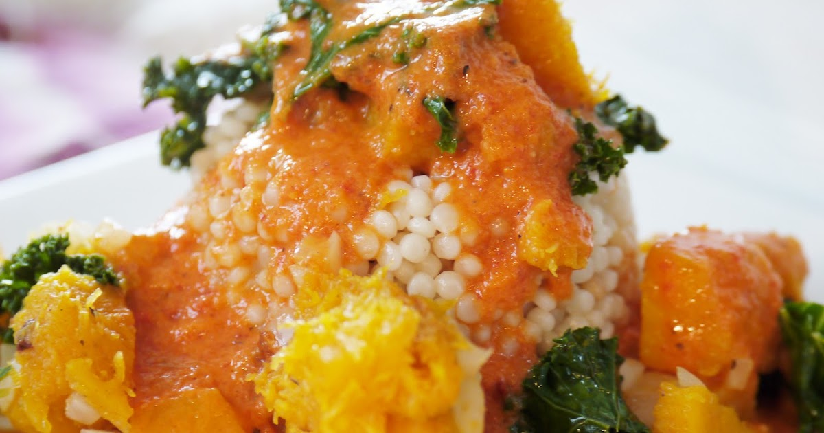 ... Pearl Couscous, Butternut Squash and Kale in a Creamy Red Pepper Sauce