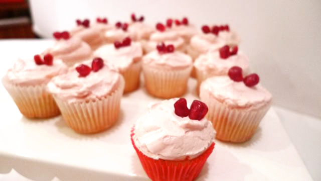 Cake Power Cakes: Orange Vanilla bean Cupcakes with Pomegranate Hearts