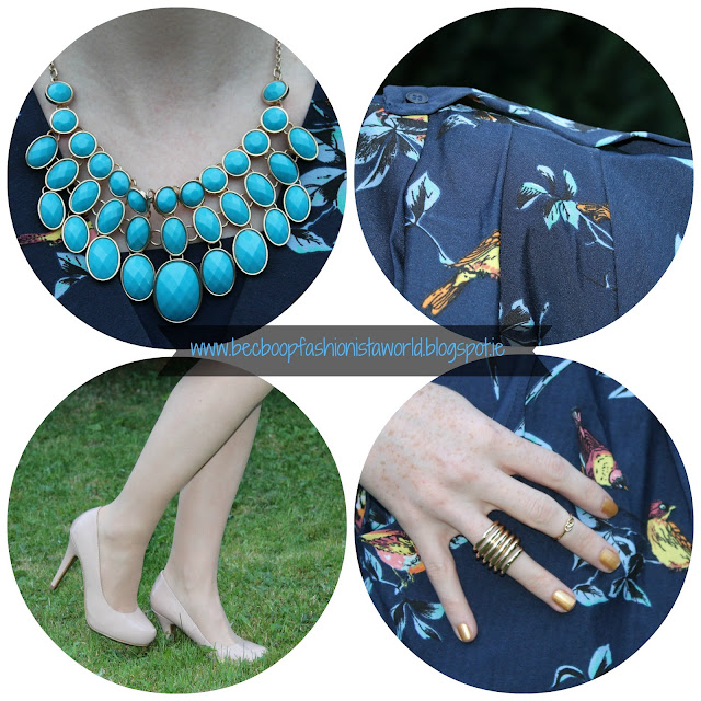 LMLMF Closet Clothing Bird Print Dress Blog Review accessories detail