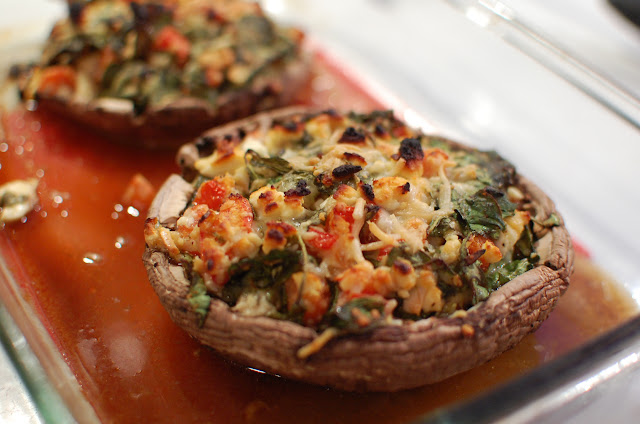 Reckless Abandon: Spinach and Feta Stuffed Portabella Mushrooms