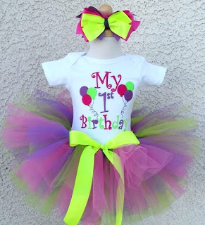 Birthday Party Balloons Purple Bright Lime Tutu Outfit