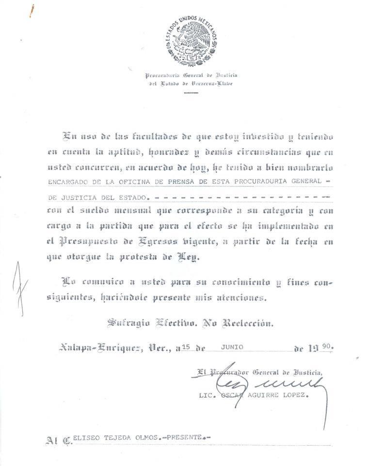 Designación en la PGJ Veracruz 1990