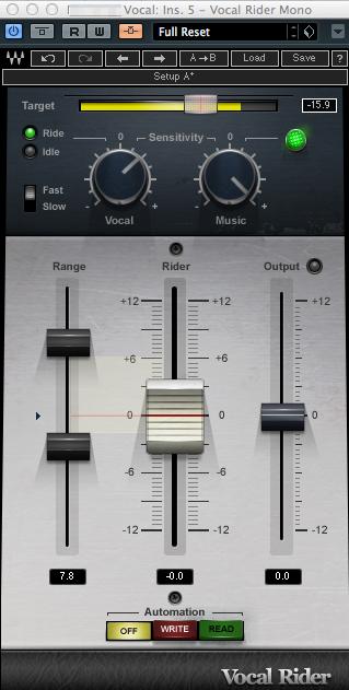 Waves Vocal Riderのセッティング例 音量が下がりがちなAメロに主にうまくかかるように設定しました