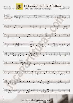 Tubescore The Lord of the Rings Sheet Music for Trombone Tube and Euphonium OST
