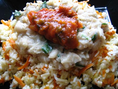 Cannellini Bean Sauce and Herbed Tomato Sauce Over Carrot Rice