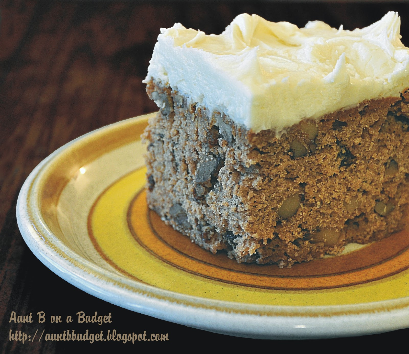 Aunt B on a Budget: Applesauce Spice Cake With Cream Cheese Frosting