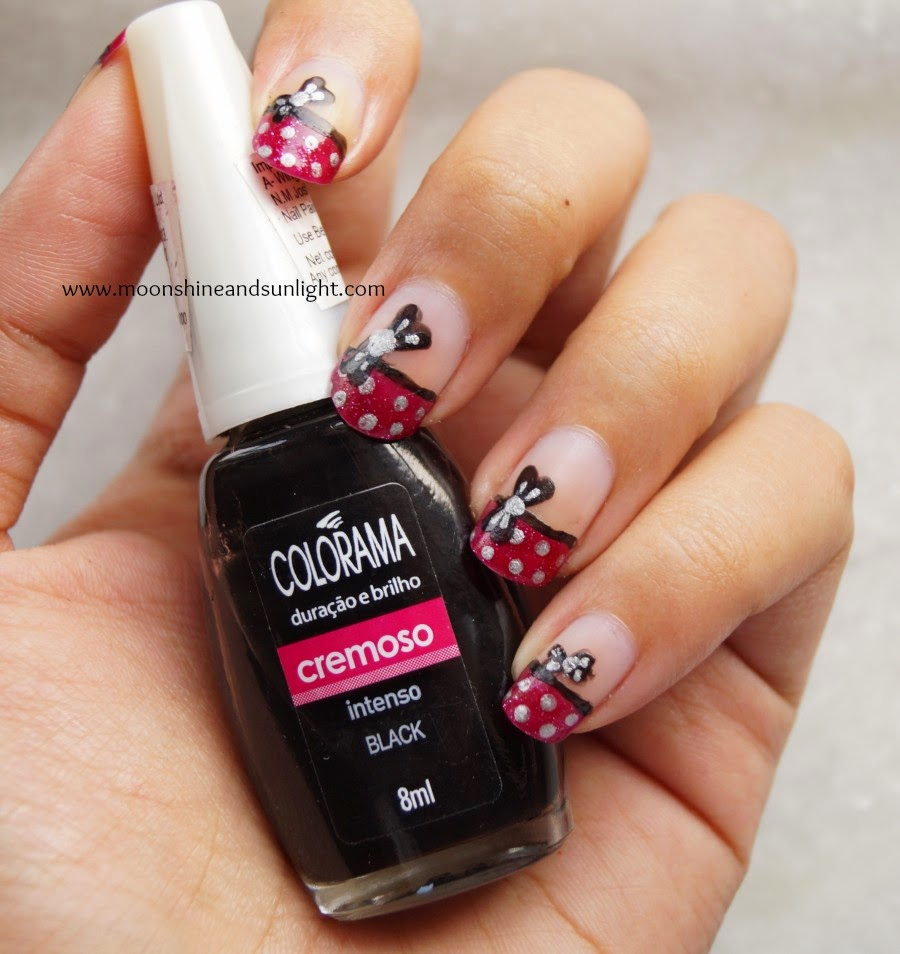 Little Black bow on french nail art , Minnie Mouse Inspired nails