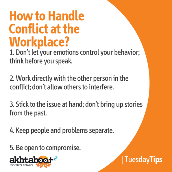 how to handle conflicts in the Conflict is an inevitable part of the workplace according to the virginia department of human resource management, 60 to 80 percent of all workplace conflict stems from strained relationships between employees and executives as a manager, it is your job to communicate effectively, respect employees, recognize office.