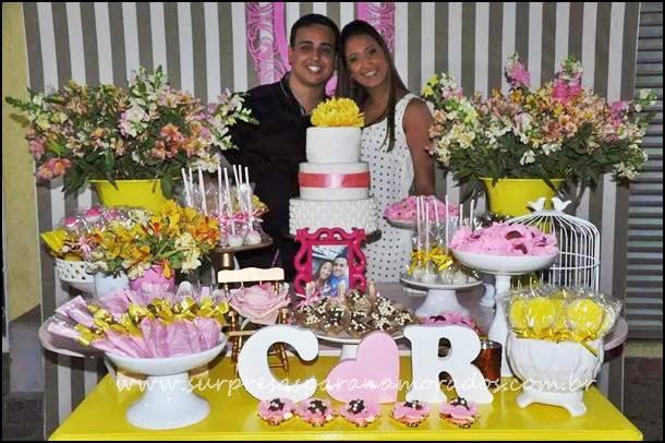 decoração rosa e amarelo