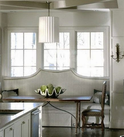 beautiful traditional  white kitchen banquette upholstered bench and table