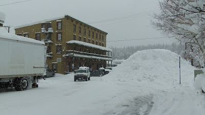downtown Truckee with big snow in streets