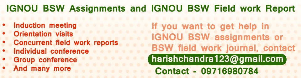 IGNOU B.Sc - IGNOU MSW BSW Field Work Guide Download - IGNOU BSW MSW Solved Assignments