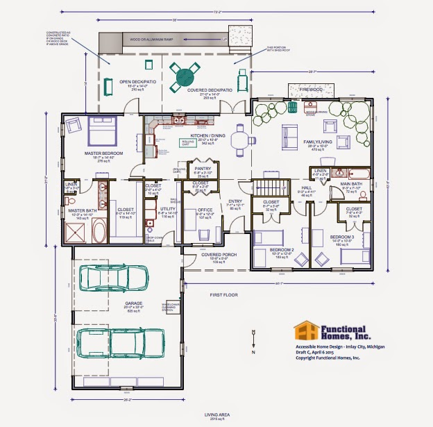 3 Bedroom Wheelchair Accessible House Plan Work In