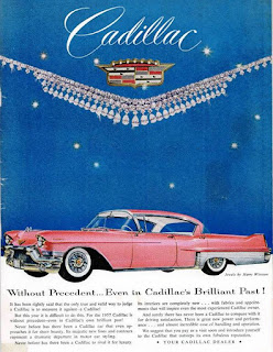 Full page color ad for a 1957 Cadillac inside the back cover of the 1957 official program for the Oregon State vs. Iowa football game