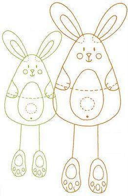 Molde para feltro e E.V.A de coelho - páscoa