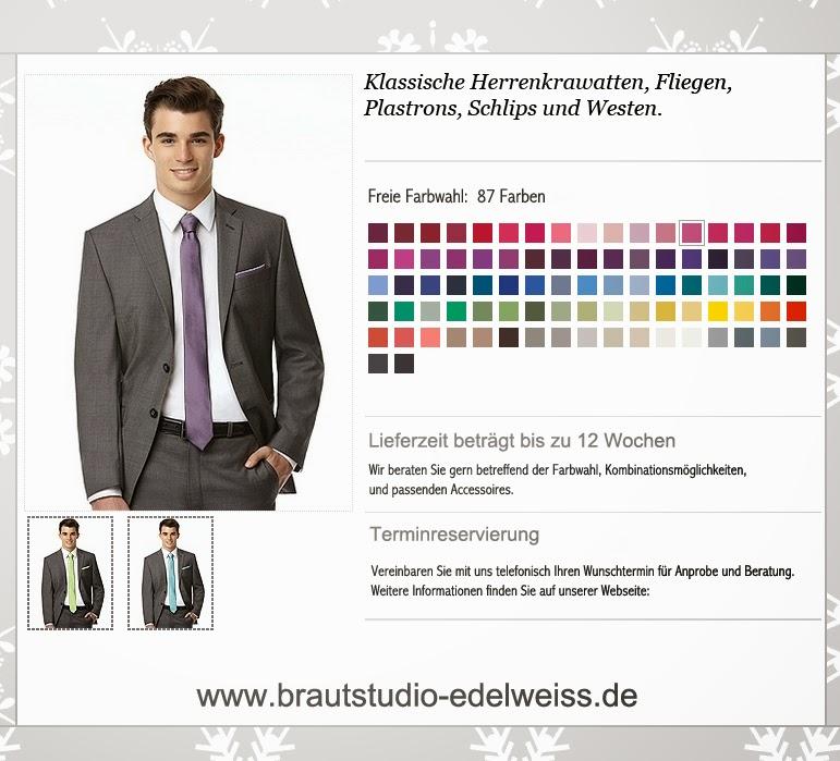 Krawatten schmal, klassisch und normal in vielen Farben zu bestellen. Fliegen, Schlips und Westen farbig passend zum Abendkleid oder Brautkleid..