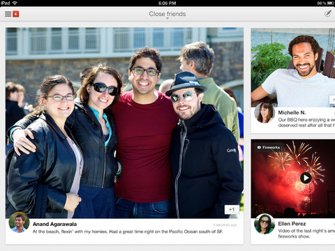 New version of Google + provides native support iPad