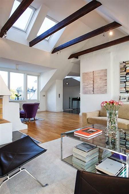 para hacer de ste un espacio clido vamos a utilizar suelos de madera y que el techo lleve las vigas y los travesaos a la vista