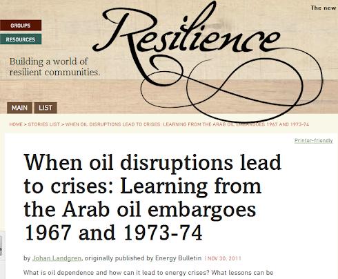 Johan Landgren får artikel baserad på Masteruppsats publicerad på Energy Bulletin/Resilience.org