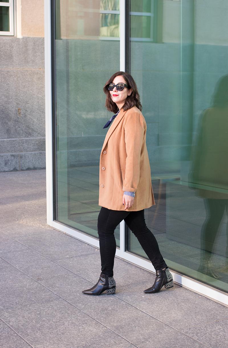 How to wear a camel coat, via Revolve