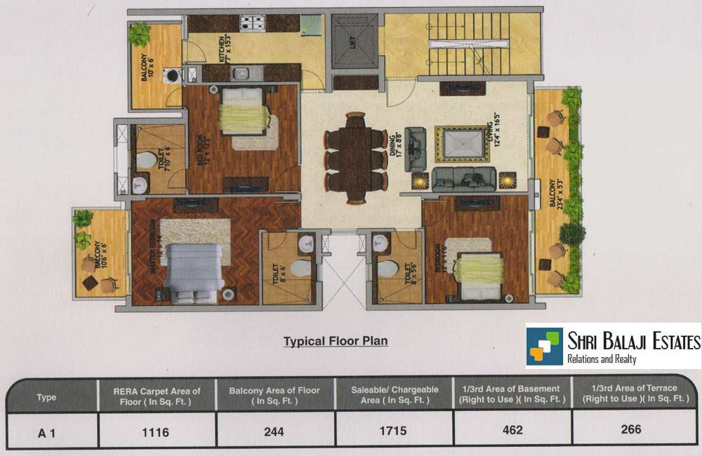 Floor Plan - ( 3BHK A1 )