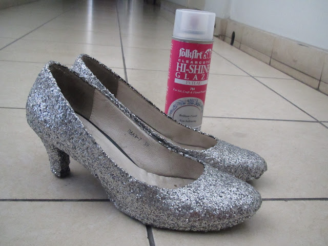 DIY sparkle heels final product