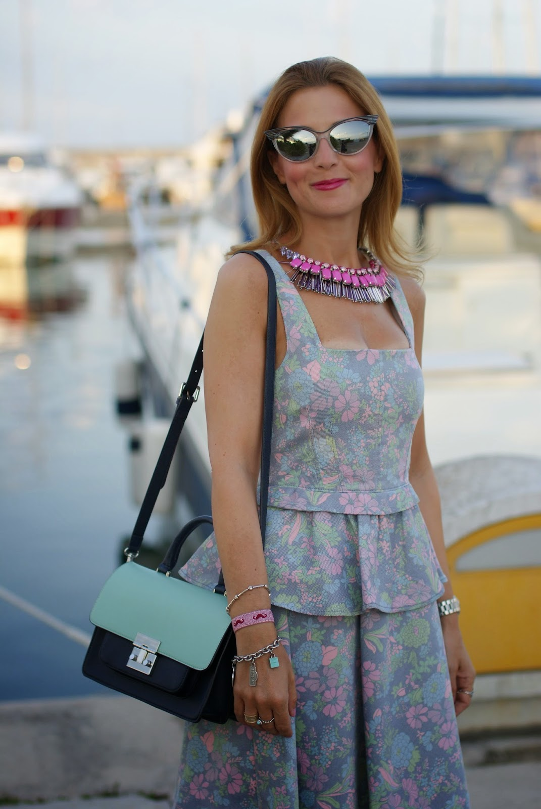 sodini pink necklace, dsquared2 cat eye mirrored sunglasses, marc by marc jacobs floral corset dress, Fashion and Cookies, fashion blogger