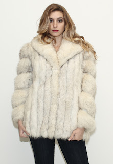 Vintage 1970's white fluffy white fox fur bubble coat