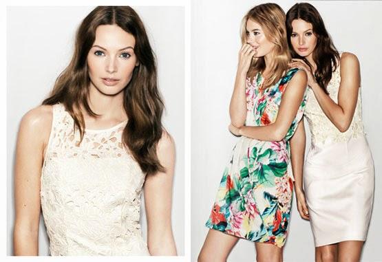 vestidos de fiesta primavera verano 2014 de H&M vestido corto estampado y encaje