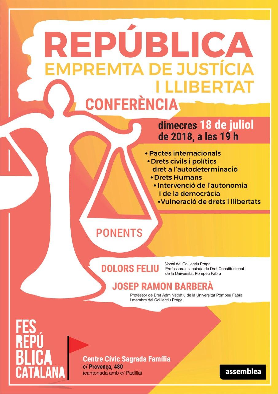 """Conferència """"REPÚBLICA empremta de justícia i llibertat"""", dimecres 18 de juliol"""