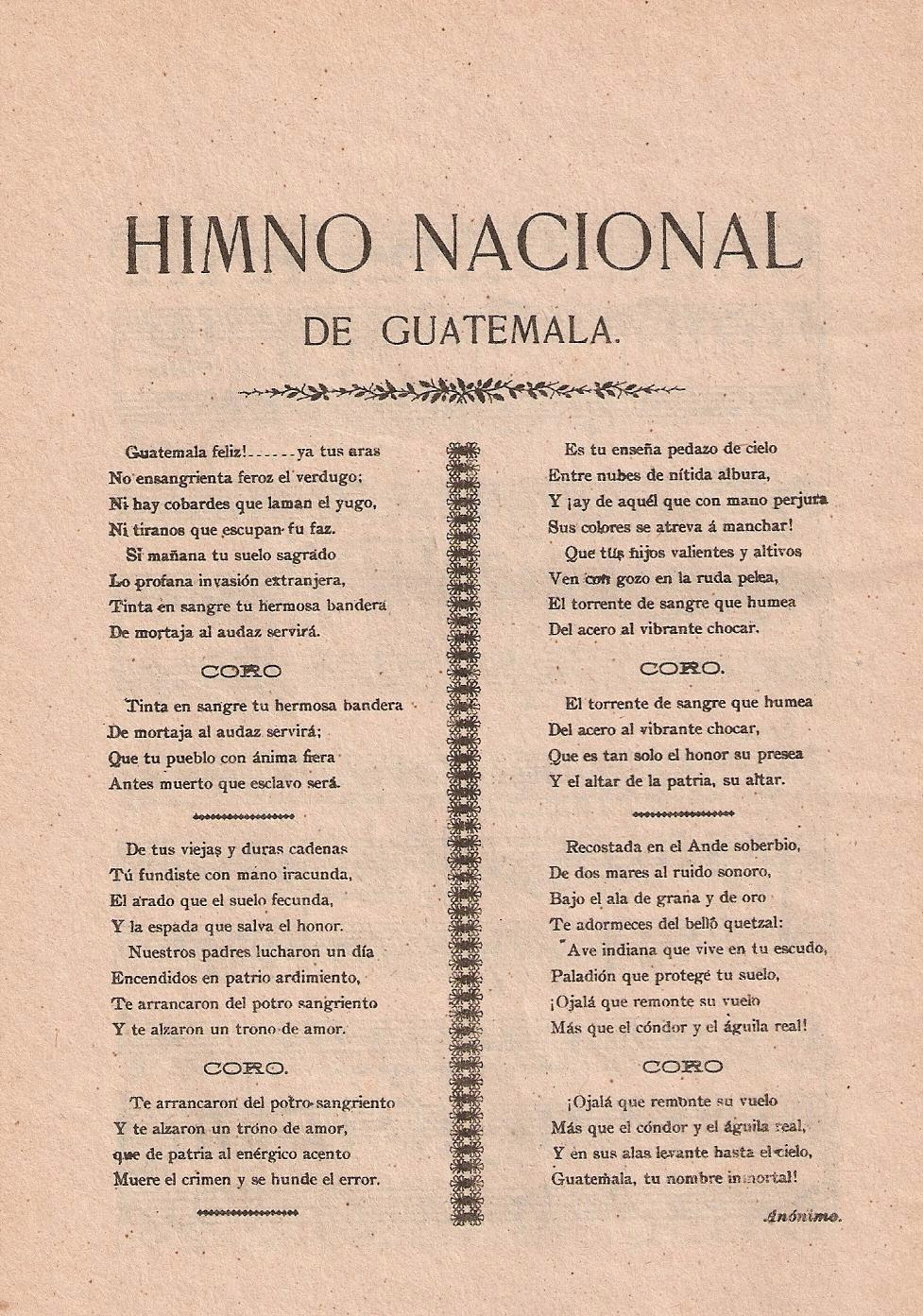 es la letra del himno de la: