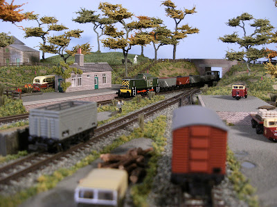 N gauge class 14 D9555 passing through Littleford with a coal train