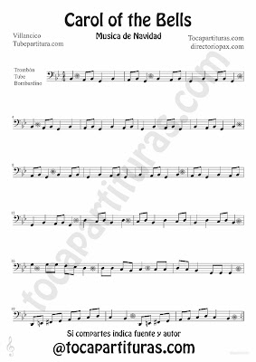 Tubescore Carols of the Bells sheet music for Trombone, Tube and Euphonium traditional Christmas Carol Music Score