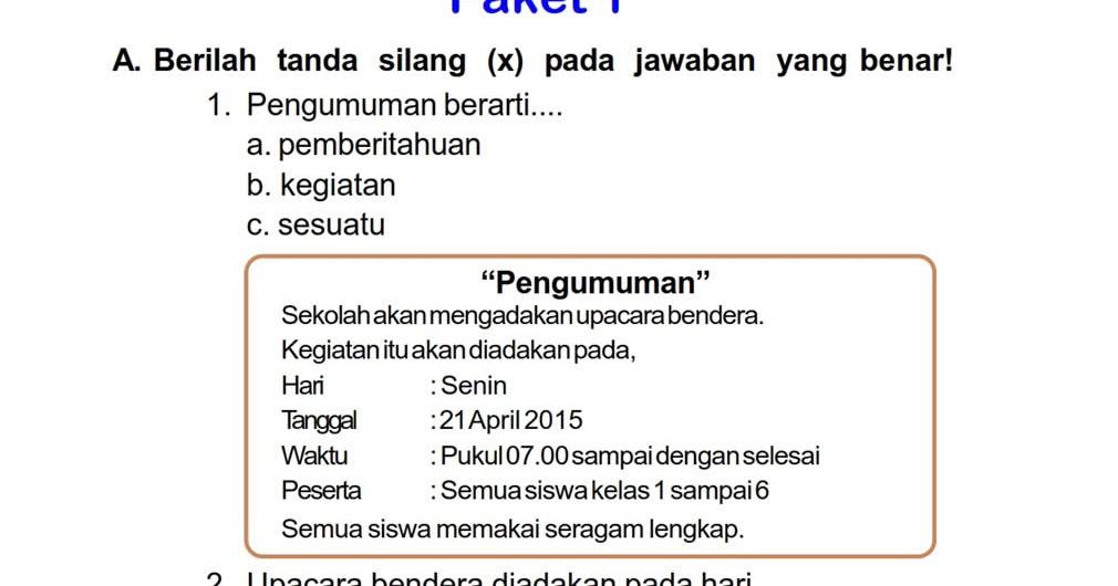 Download Soal Uts Ganjil Bahasa Indonesia Kelas 2 Semester Ganjil Rief Awa