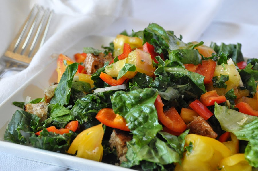 Panzanella with Kale and Peppers