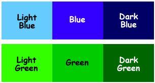 İngilizce açık ve koyu renkler