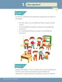 Apoyo Primaria Desafíos matemáticos 1er grado Bimestre 1 lección 1 ¿Son iguales?