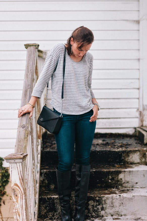 nashville style, striped shirt, jeans, knee high black boots, gregory sylvia