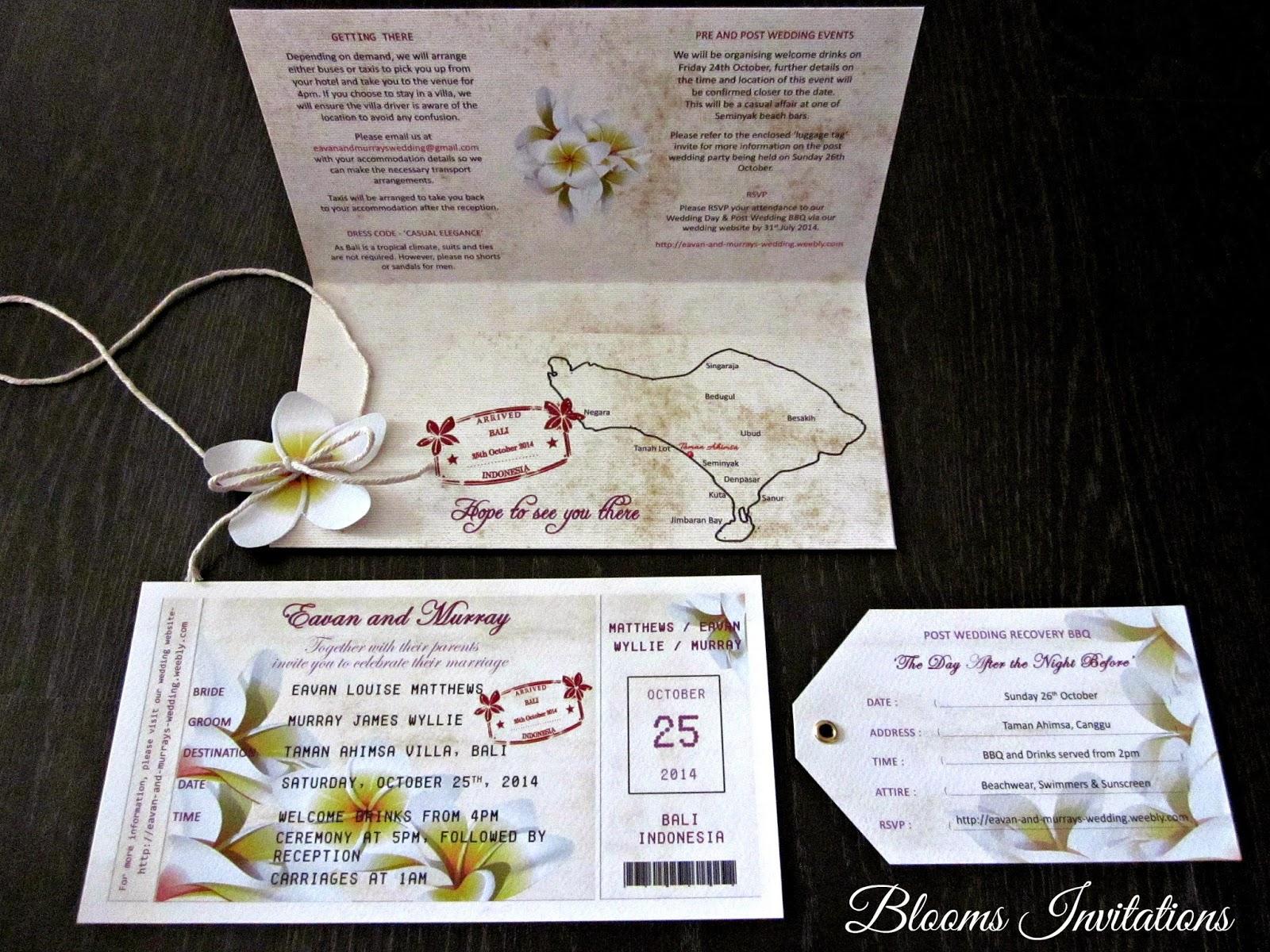 Destination Wedding Boarding Pass Invitation