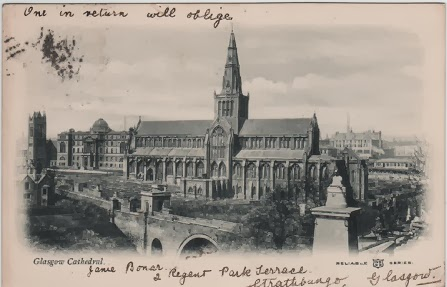 Vintage postcard of Glasgow Cathedral, c.1900's
