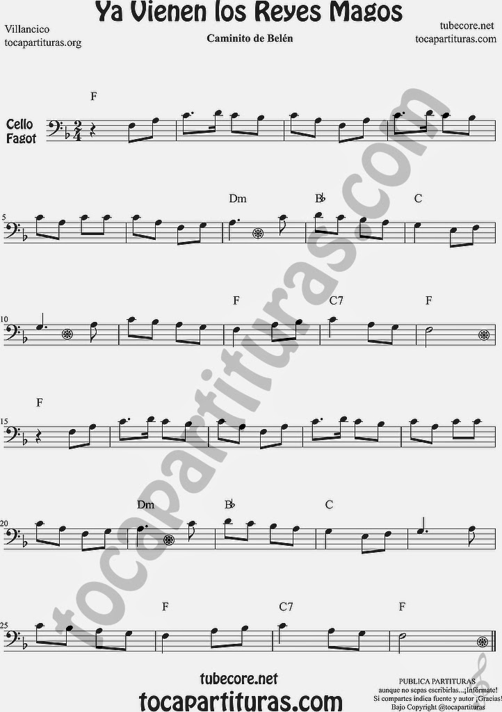 Ya vienen los Reyes Magos Partitura de Violonchelo y Fagot Sheet Music for Cello and Bassoon Music Scores Canción de Navidad Christmas Carol