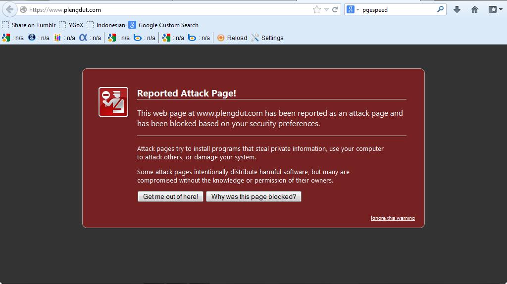 Tampilan Web/Blog Plengdut pada browser firefox saatdi locked karena terinfeksi malware