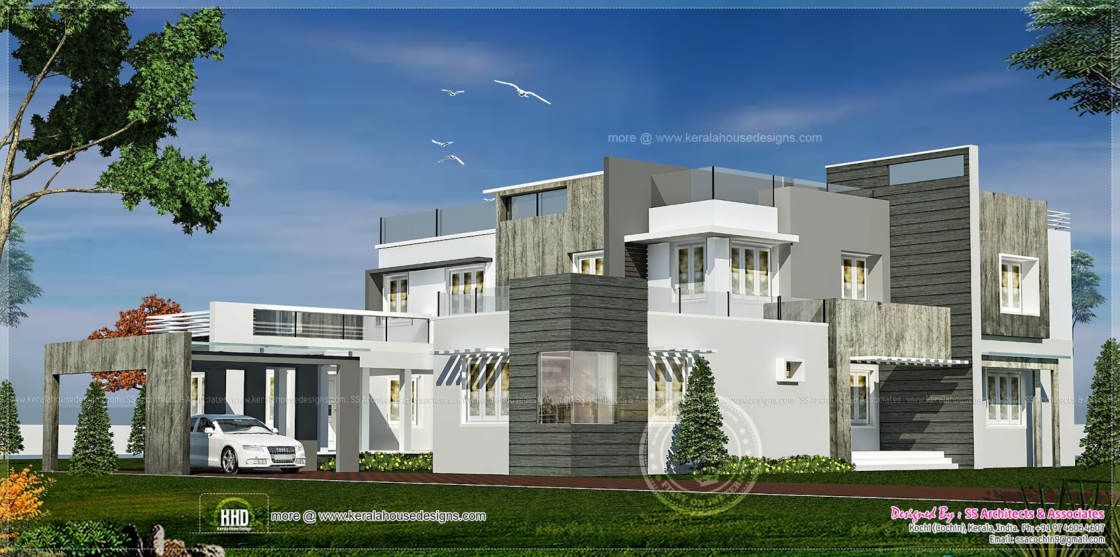 Luxury contemporary double storey villa home kerala plans for Contemporary villa plans