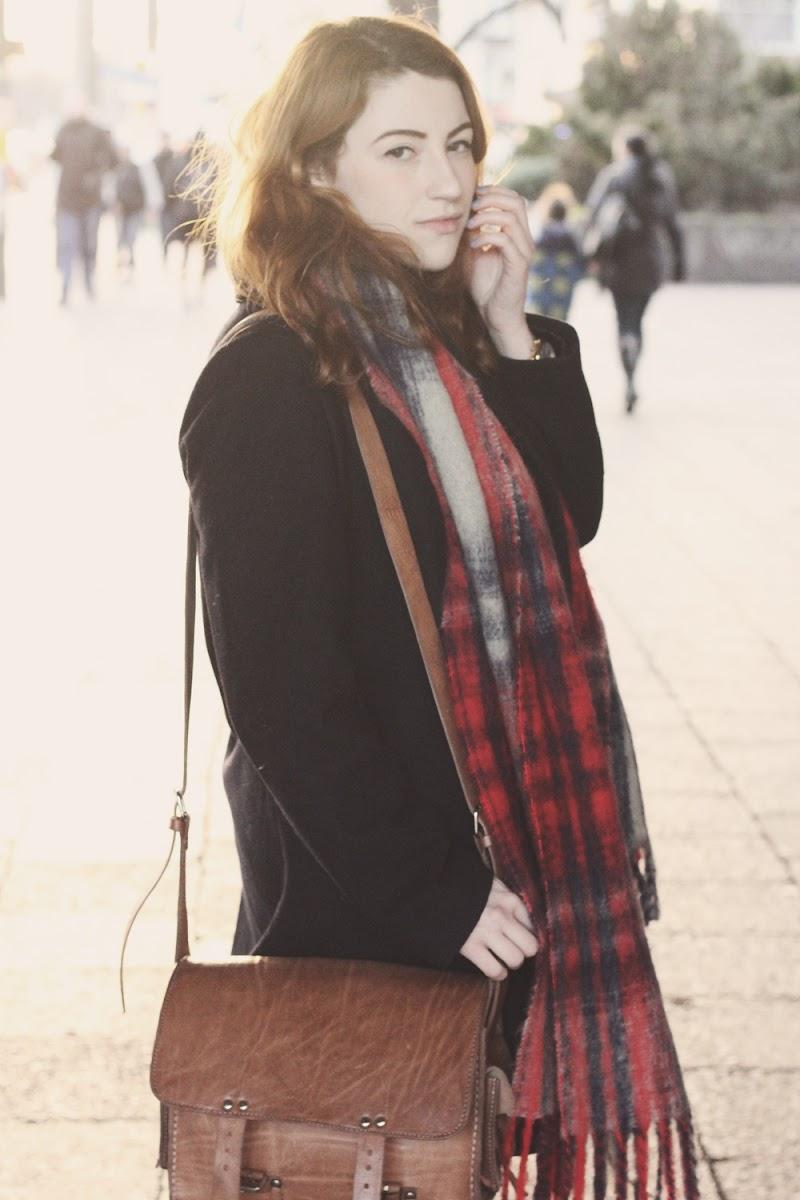 zara tartan scarf outfit