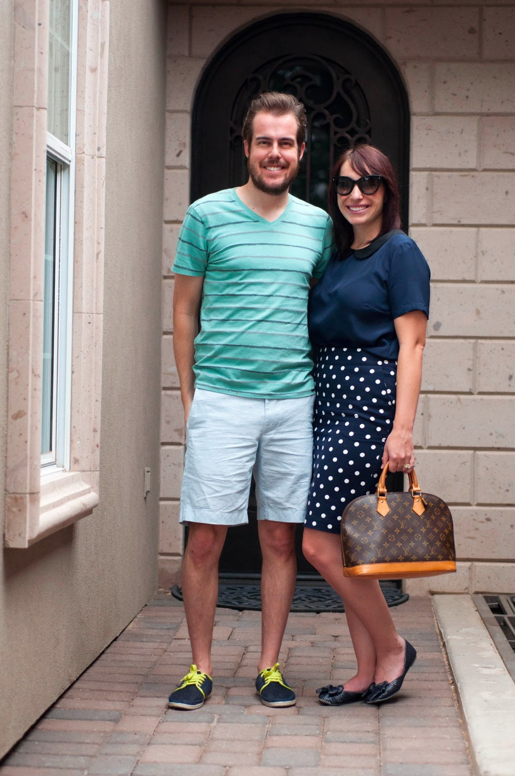 """couples fashion, couples fashion blog, couples style, mint, navy and white, bow flats, jcrew 9""""stanton shorts, peter pan collar"""