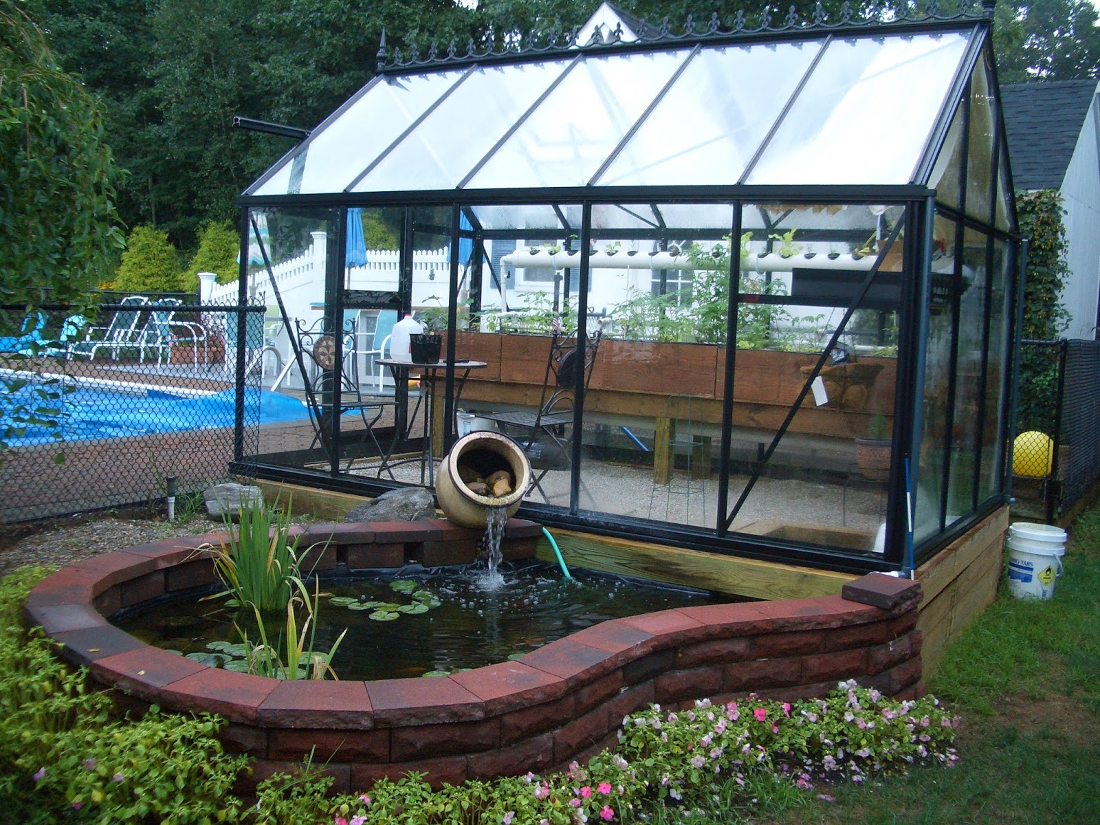 Greenhouse aquaponics for Garden pool aquaponics