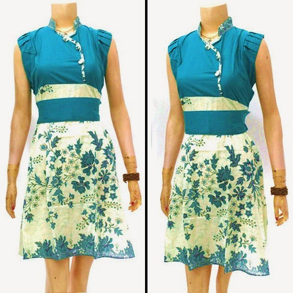 Dress Batik warna biru