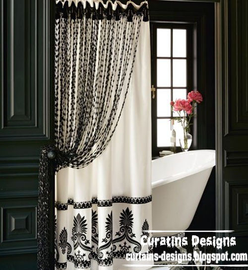 black and white shower curtain for modern bathroom. Black Bedroom Furniture Sets. Home Design Ideas