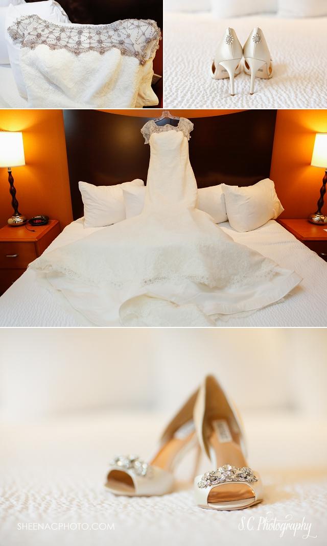 Badgley Mishka wedding shoes, rhinestone wedding dress, michigan wedding photographer