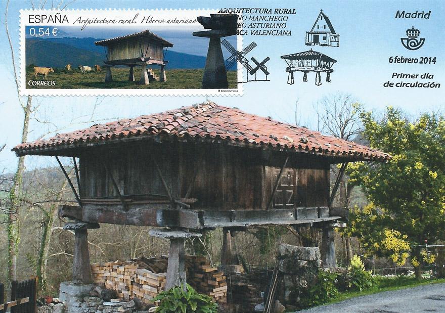 Tarjeta máxima, sello del hórreo asturiano, matasellos primer día